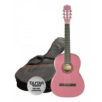 Ashton 4/4 Full Size Classical Guitar Pack PINK