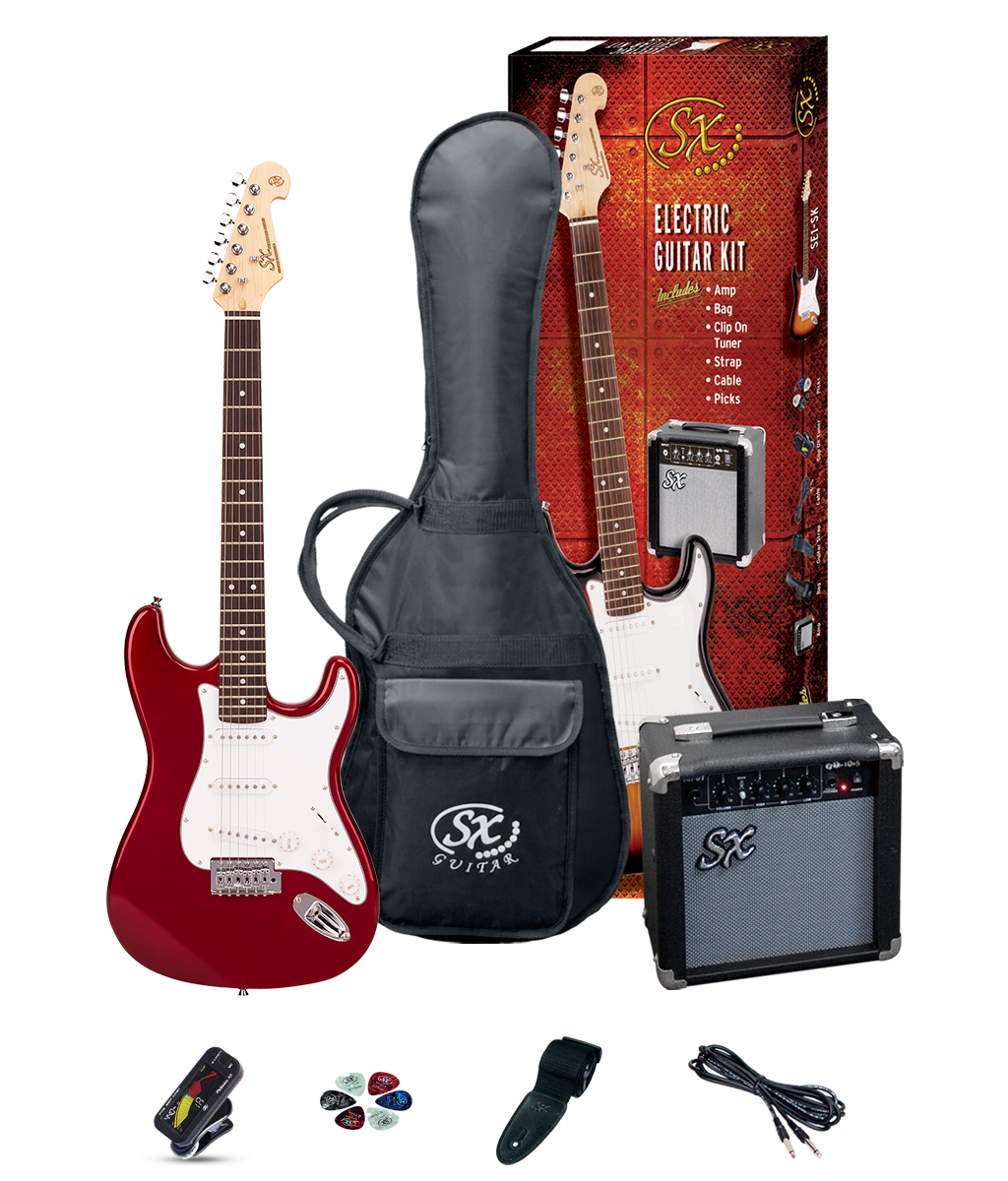 SX SE1SK34CAR SC Style 3/4 Electric Guitar & Amp Pack Red